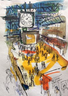 Nick Kobyluch - The Clock - Waterloo Station Sketchbook Inspiration, Art Sketchbook, Art Sketches, Art Drawings, Waterloo Station, Observational Drawing, Architecture Drawings, Classical Architecture, Landscape Architecture