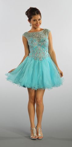 Short Mesh Baby Blue Homecoming Dress Illusion Neckline Poofy Skirt $222.99