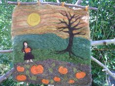 Pumpkin Harvest  Felted Wool Wall Hanging by mountainhearth - $75