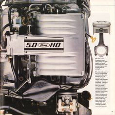 The 225 horsepower, liter, High-Output, engine is featured on this page of the 1988 Ford Mustang sales brochure. Mustang Engine, Mustang Cars, Ford Mustang Gt, Car Ford, Ford Trucks, Modern Muscle Cars, Fox Body Mustang, Car Advertising, Ads