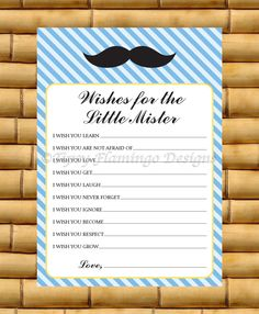 CUTE - Printable Baby Shower Game - Wishes for The Little Mister - Instant Download - Blue - TFD201 by TipsyFlamingoDesigns on Etsy