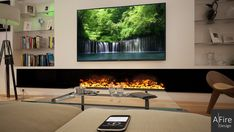 AFIRE PREMIUM is the only water vapor fireplace with adjustable colored flames. A real cold fire of light and steam. Fireplace Tv Wall, Farmhouse Fireplace, Stove Fireplace, Fireplace Inserts, Fireplace Mantels, Stove Accessories, Small Pools, Electric Fireplace, Living Area