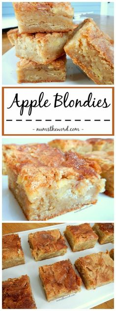 apple desserts Apple Blondies - These Apple Bars are a perfect Autumn dessert that mixes apple pie and blondies. Yummy Apple blondies with a large scoop of vanilla ice cream is the perfect dessert {or snack! Mini Desserts, Apple Dessert Recipes, Apple Recipes, Cookie Recipes, Healthy Apple Desserts, Recipe With Apple, Recipes For Apples, Apple Deserts, Apple Snacks