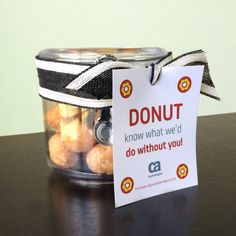 """""""DONUT know what we'd do without you!"""" jar with donuts 