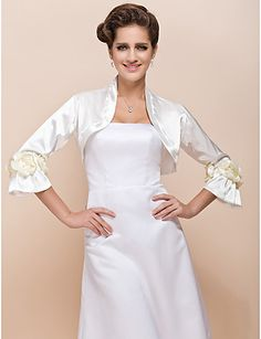 Long Sleeve Satin With Flowers Wedding Jacket / Special Occasion Wrap (More Colors)