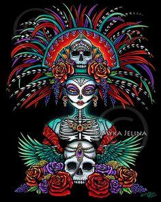 Beautiful Bones Signed Print Dia De Muertos Festival Mictecacihuatl Sugar Skull Calaca Day of the Dead Headdress Mexican Skulls, Mexican Art, Mexican Skull Tattoos, Los Muertos Tattoo, Candy Skulls, Sugar Skulls, Sugar Skull Artwork, Tableau Design, Day Of The Dead Art