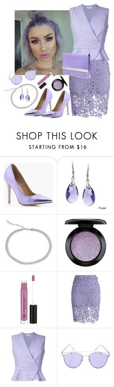 """Lavender Monochrome"" by dobesht ❤ liked on Polyvore featuring Boohoo, La Preciosa, Blue Nile, MAC Cosmetics, Anastasia Beverly Hills, Chicwish, Carven, YHF and Steve Madden"