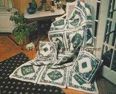 🍃 🌹  🍃 Crochê Coberta Acolchoada a Caixa com Quadrados Clássica -  /  🍃 🌹  🍃Vintage Quilt Squares box Crochet Hooks -