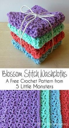 Free crochet pattern for washcloths made using the blossom stitch.