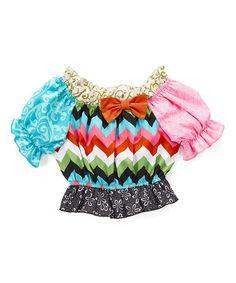 Look at this #zulilyfind! Pink & Blue Patchwork Ruffle-Hem Top - Infant, Toddler & Girls #zulilyfinds