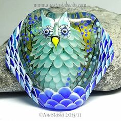 "Anastasia Lampwork Bead 1 Focal ""Frosty The Nightowl"" SRA Handmade Beads, How To Make Beads, Lampwork Beads, Bead Art, Jewelry Art, Lampworking, Glass Art, Glass Beads, Marbles"