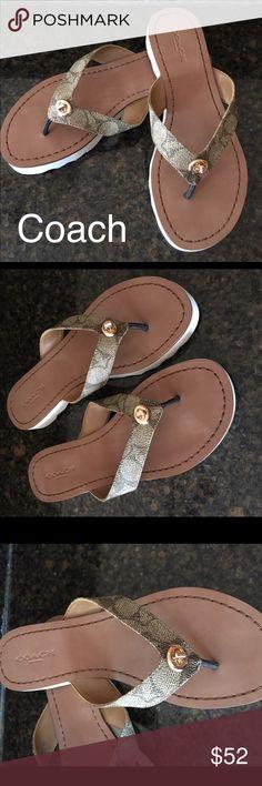 "Coach sandals Coach Shelly signature logo sandal. Khaki chestnut signature logo coated canvas 1"" rubber sole. Brand new Coach Shoes Sandals"