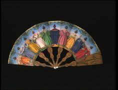 BACK Fan  Place of origin: France (made)  Date: 1830-1840 (made)  Artist/Maker: unknown (production)  Materials and Techniques: Engraving coloured with gouache on paper, with painted wooden sticks  Credit Line: Emily Beauclerk Bequest  Museum number: T.123-1920