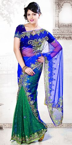 Blue & Green Designer Saree   Check out this page now :-http://www.ethnicwholesaler.com/sarees-saris