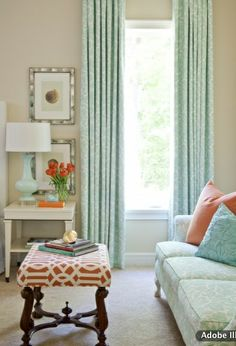 Coral and Aqua Living Room @Danielle Rhinehart Turner