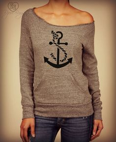 Anchored -- rope & anchor design on Wide neck fleece sweatshirt. Sizes S-XL.  Other colors available.