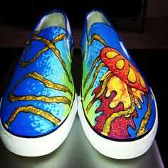 These canvas shoes are made with Sharpies  and sprayed with a fixative that protects them from damaging when they get wet or dirty. They are all orignal art work done by myself. If your interested in a pair like these or would like a custom pair, contact me at PinkNebulaComp@gmail.com or visit my Etsy page!