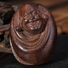 Chinese Handcarved Gift Wood Carving  Maitreya Buddha Hand Plaything