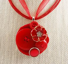 Button Necklace with Vintage and New Buttons in Red