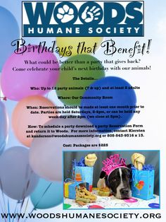 Birthdays that Benefit!  Birthday parties for children now at Woods Humane Society in San Luis Obispo, CA
