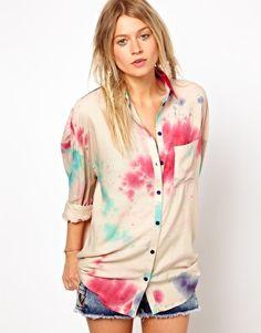 ASOS Boyfriend Shirt In Cosmic Tie Dye Print