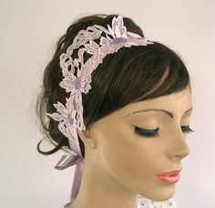 Lilac Bridal Headband Fascinator  Weddings Dress by MammaMiaBridal