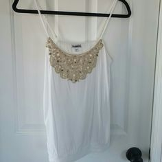 Express spaghetti strap tank with crochet trim Fabulous summer top.  Gorgeous detailing with metallic crochet and beaded accents.  Worn a handful of times Express Tops Tank Tops