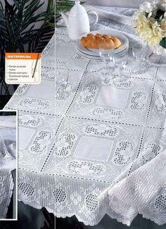 Elegant Filet Crochet Tablecloth For Crochet Fabric, Thread Crochet, Filet Crochet, Crochet Doilies, Crochet Lace, Crochet Stitches, Diy Crafts Crochet, Easy Crochet, Crochet Projects