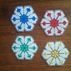 Lotus coaster set hama beads by herry_bits