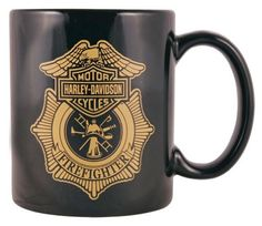This Harley-Davidson® Firefighter Original Ceramic Coffee Mug Black would make a perfect gift for your law enforcement friends! Harley Davidson Gifts, Harley Davidson Motorcycles, Law Enforcement, Firefighter, Coffee Mugs, Bike, Ceramics, The Originals, Stuff To Buy