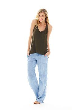 Michael Stars Womens Slub Jersey Drawstring Pants with Roll Cuff