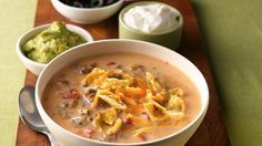 Beefy Nacho Soup - try doing it in the crockpot - eliminate milk, add canned or frozen corn, canned black beans, bigger can of tomatoes and adjust liquid from cans plus water to sub for milk. Add more fiesta nacho cheese soup if needed. Chili Recipes, Mexican Food Recipes, Crockpot Recipes, Soup Recipes, Cooking Recipes, Mexican Dinners, Venison Recipes, Kraft Recipes, Casserole Recipes