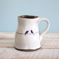 love birds mug with two blue birds  14 oz  rustic by TwoPotters