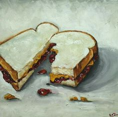 PBJ Sandwich painting 14 inch original oil by RozArt on Etsy Wayne Thiebaud Paintings, Wayne Thiebaud Cakes, Still Life Artists, Pop Art Movement, Middle School Art, High School, Painting For Kids, Food Painting, Painting Art