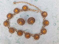 Signed CORO necklace and clip on earring set very unique AB882 by MeyankeeGliterz on Etsy