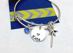 Princess Bracelet, Child Adjustable Bangle Bracelet, Wand Bracelet, Princesd Jewelry, Personalized Bracelet, Little Girls Bracelet, Young Gi