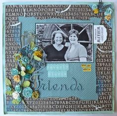 @Gloria Stengel made this stunning LO for her friend Beverly. She used these beautiful summer colors and used Kraft Reflections and Olde Curiosity Shoppe to create this lovely LO. Gloria's use of flowers is unreal! #graphic45 #layouts
