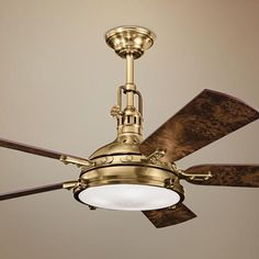 "56"" Kichler Hatteras Bay Burnished Antique Brass Ceiling Fan - #N0821 | Lamps Plus"
