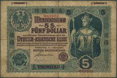 Banknotes - Germany - Colonies, Michel Ros 1001 - German-Asian bank: Tsingtau, 1 Dollar 01. 03. 1907 no. 48992, Chinese dragon and crowned Germania, very rare, small Tore, before IV.  Dealer Gärtner Christoph Auktionshaus  Auction SOLD Price (no guarantee): 15500.00 EUR