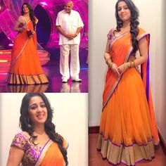 South Indian actress Charmee Kaur recieving an award wearing a Shilpa Reddy Lehenga