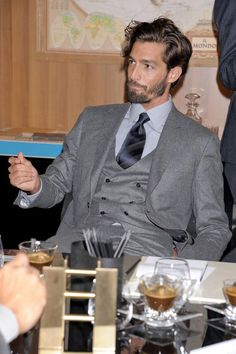 The suit, the hair, the beard and the espresso.   brioni-mens-autumn-fall-wter-2012