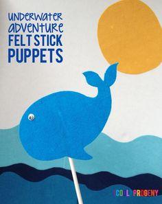 underwater felt stick puppet fun {perfect for #sharkweek} #preschool #kids #crafts #puppets #felt