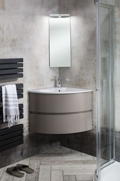 Deep double drawers provide ample storage for toiletries - Svelte Corner Unit & Cast Mineral Marble Basin in Matte Coffee from Bauhaus. http://www.crosswater.co.uk/product/furniture-furniture-collections-browse-by-range-svelte/svelte-corner-unit-and-cast-mineral-marble-basin-svelte_corner_durocoat/