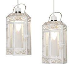 Pair Of Distressed White Metal Gl Shabby Chic Lantern Ceiling Pendant Shades Shabbychic