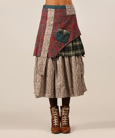 Loving this Red & Green Olga Skirt on #zulily! #zulilyfinds