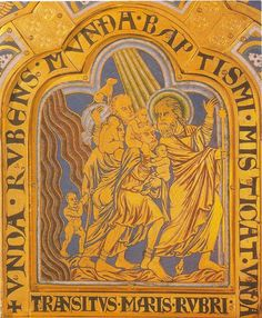 """ROMANESQUE - METALWORK - The Crossing of the Red Sea - Nicholas of Verdun - from Klosterneuburg Altar - 1181 - Enamel on gold plaque - height 5 1/2"""" - Figures clothed in rippling """"wet"""" draperies - classical influence. Organic body structure - freedom of movement. Dog perched on bag - reawakening of interest in man and natural world. Exchange of glances and gestures in tightly knit composition - concentrated drama. Fitting figures into space framed by arch. LOCATION: KLOSTERNEUBURG ABBEY…"""