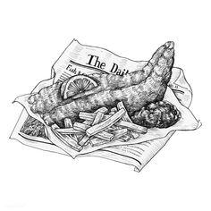 Hand drawn fish and chips , Sushi Drawing, Food Drawing, Chip Tattoo, Drawn Fish, Line Sketch, Fish Drawings, Pencil Drawings, Fish Vector, Dibujo