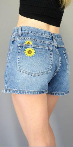 Vintage 90s High Waisted Jean Shorts Sunflower Embellished ...