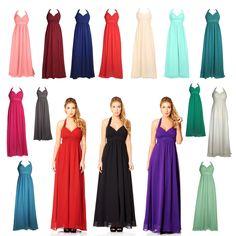 Womens Long Halterneck Chiffon Prom Formal Maxi Evening Dress Plus Size 6 to 26