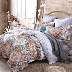 Burnt Orange Brown and Grey Bohemian( BOHO ) Style Baroque Pattern Persian Themed Western Indian Cotton Damask Full, Queen Size Bedding Sets